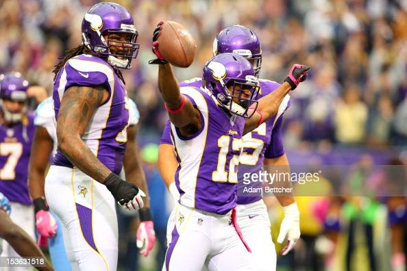 Percy Harvin of the Minnesota Vikings celebrates a touchdown against the Tennessee Titans at the Hubert H Humphrey Metrodome on October 7 2012 in...