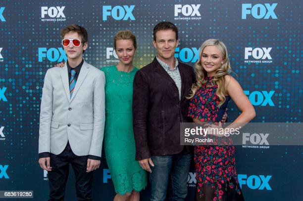Percy Hynes White Stephen Moyer Amy Acker and Natalie Alyn Lind attend the 2017 FOX Upfront at Wollman Rink Central Park on May 15 2017 in New York...