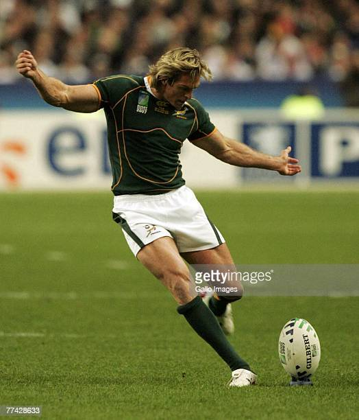 Percy Montgomery of South Africa kicks during the IRB 2007 Rugby World Cup final match between South Africa and England held at the Stade de France...