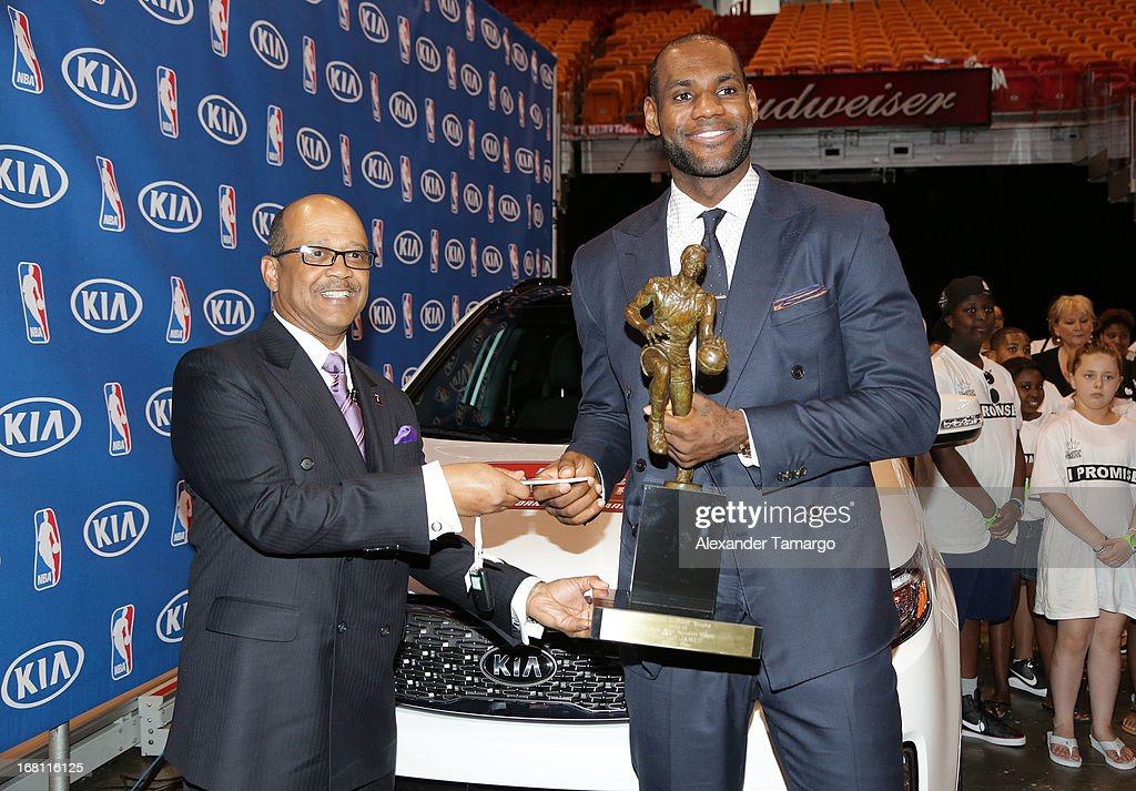 Percy Vaughn and <a gi-track='captionPersonalityLinkClicked' href=/galleries/search?phrase=LeBron+James&family=editorial&specificpeople=201474 ng-click='$event.stopPropagation()'>LeBron James</a> attend the <a gi-track='captionPersonalityLinkClicked' href=/galleries/search?phrase=LeBron+James&family=editorial&specificpeople=201474 ng-click='$event.stopPropagation()'>LeBron James</a> press confernece to announce his 4th NBA MVP Award at American Airlines Arena on May 5, 2013 in Miami, Florida.