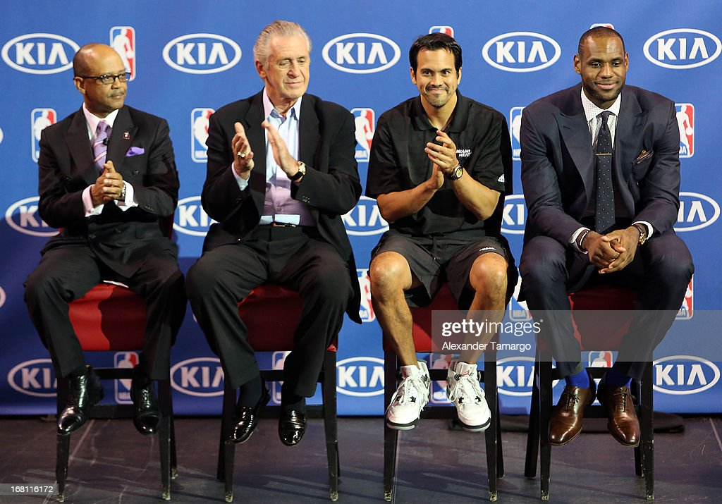 Percy Vaughn, Pat Riley, Erik Spoelstra and LeBron James attend the LeBron James press confernece to announce his 4th NBA MVP Award at American Airlines Arena on May 5, 2013 in Miami, Florida.