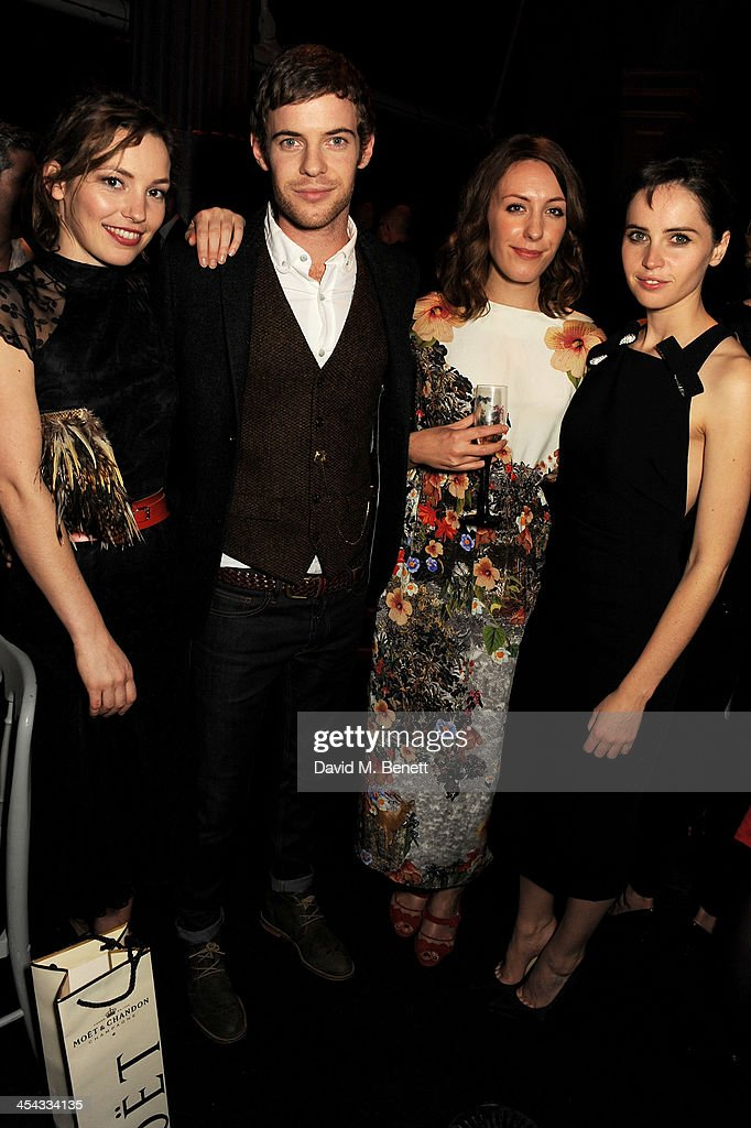 Perdita Weeks, Harry Treadaway, guest and Felicity Jones attend an after party following the Moet British Independent Film Awards 2013 at Old Billingsgate Market on December 8, 2013 in London, England.