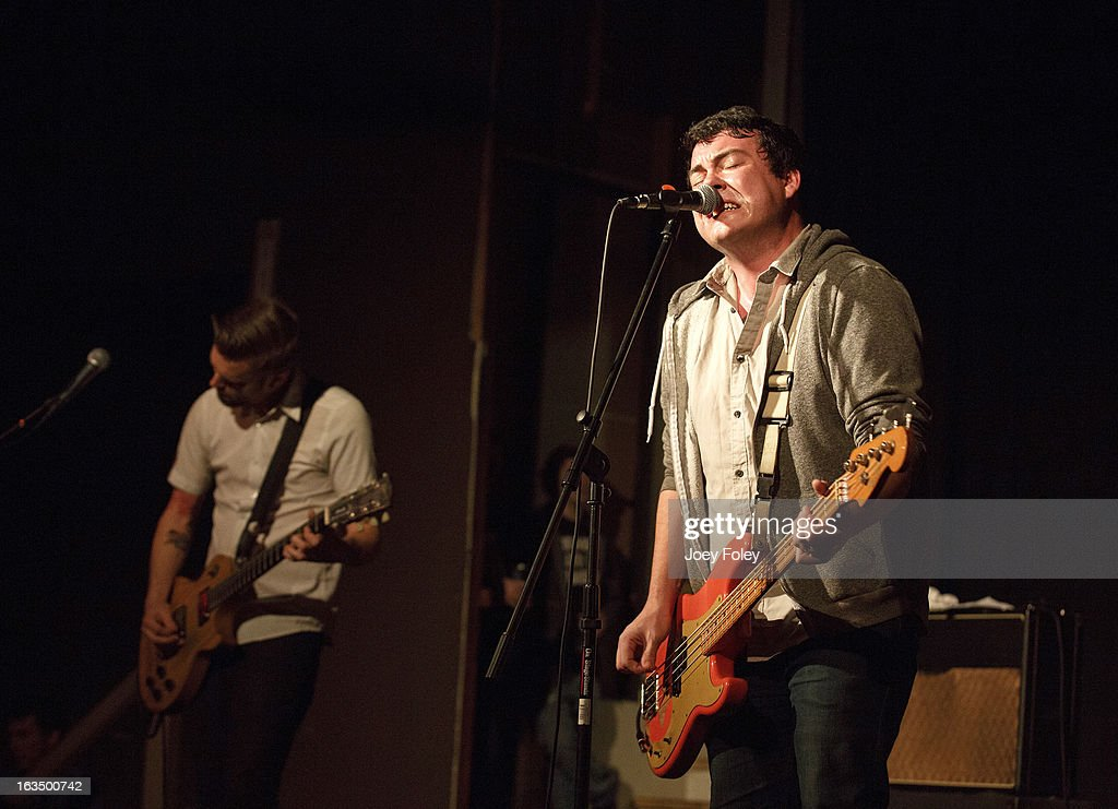 AJ Perdomo (R) of The Dangerous Summer performs at The Irving Theater on March 10, 2013 in Indianapolis, Indiana.