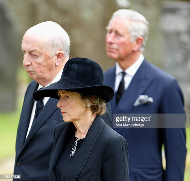 Peregrine Cavendish Duke of Devonshire Amanda Cavendish Duchess of Devonshire and Prince Charles Prince of Wales attend the funeral of Deborah...