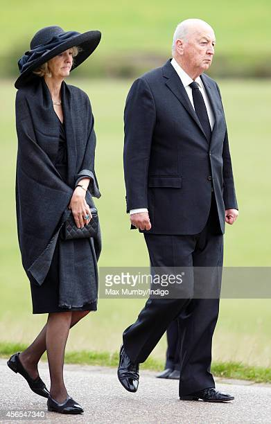 Peregrine Cavendish Duke of Devonshire attends the funeral of Deborah Dowager Duchess of Devonshire at St Peter's Church Edensor on October 2 2014 in...