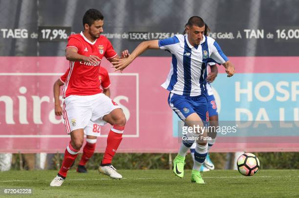 Pereira of FC Porto B with Joao Escoval of SL Benfica B in action during the Segunda Liga match between SL Benfica B and FC Porto B at Caixa Futebol...