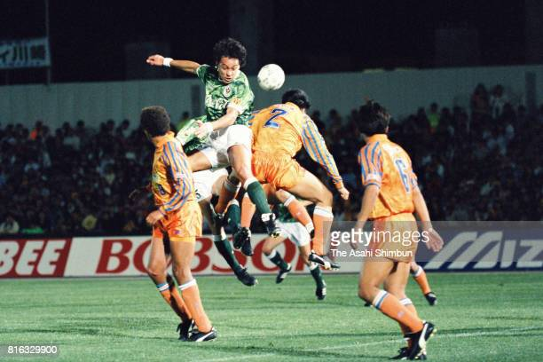 Pereira of Verdy Kawasaki and Naoki Naito of Shimizu SPulse compete for the ball during the JLeague match between Verdy Kawasaki and Shimizu SPulse...