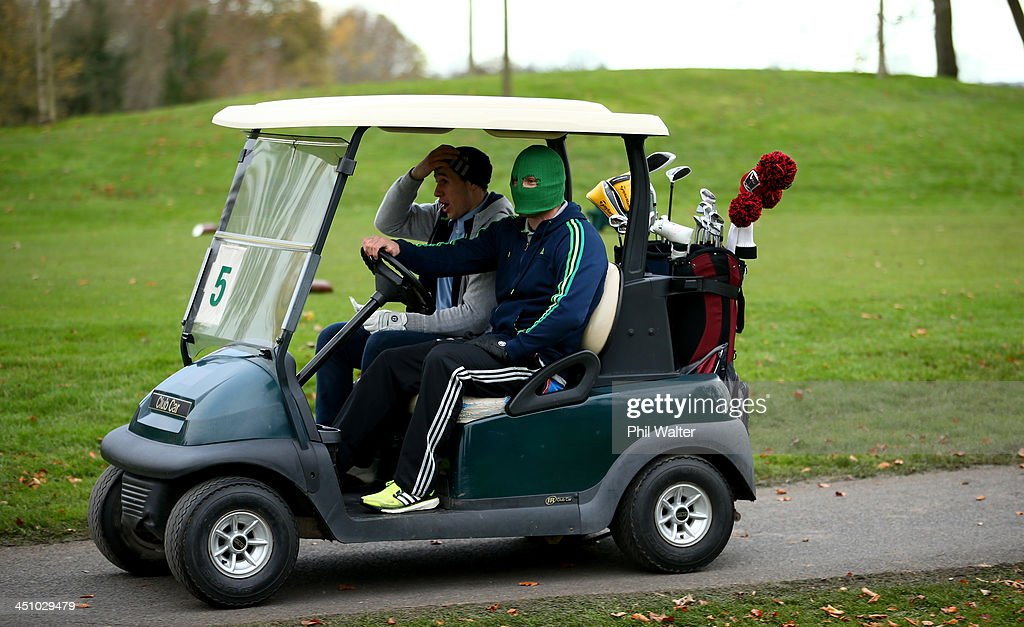 Perenara and Cory Jane of the New Zealand All Blacks enjoy a round of golf on their day off at the Castleknock Golf Club on November 21 2013 in...
