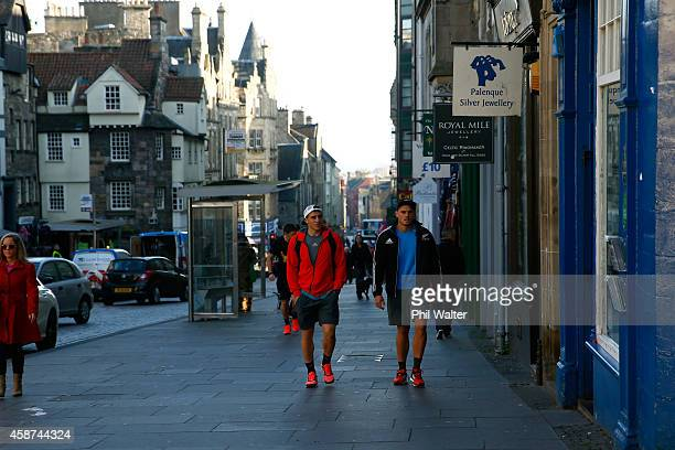 Perenara and Israel Dagg walk back from a New Zealand All Blacks Gym Session at The University of Edinburgh on November 10 2014 in Edinburgh Scotland