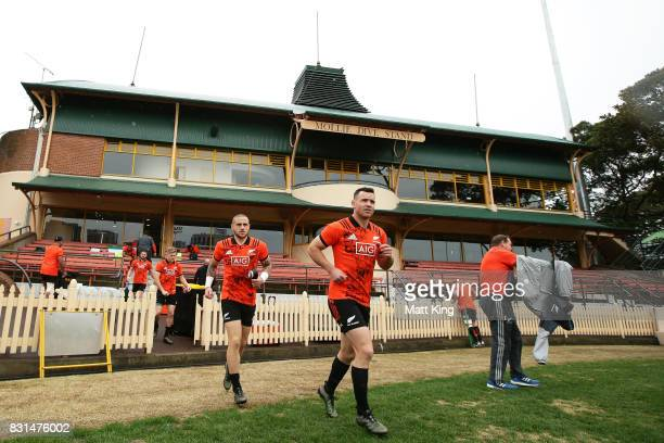 Perenara and Ryan Crotty of the All Blacks take to the field during a New Zealand All Blacks training session at North Sydney Oval on August 15 2017...