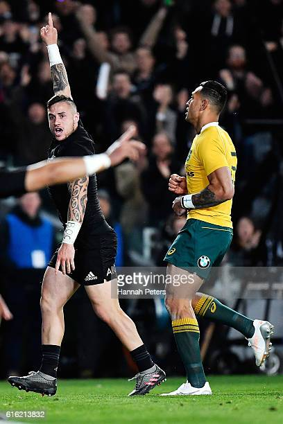 Perenara of the All Blacks celebrates after scoring a try during the Bledisloe Cup Rugby Championship match between the New Zealand All Blacks and...