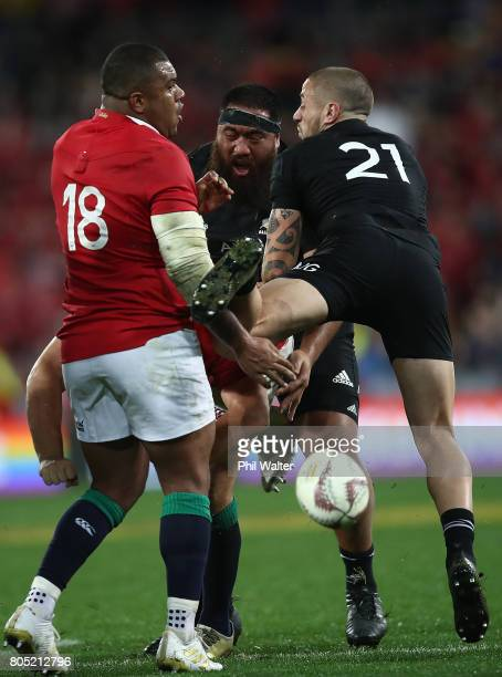 Perenara of the All Blacks is tackled by Kyle Sinckler of the Lions during the International Test match between the New Zealand All Blacks and the...