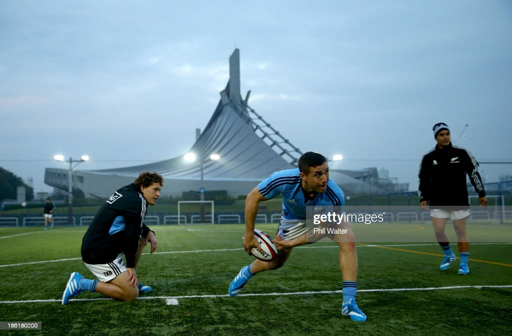 Perenara of the All Blacks passes during a New Zealand All Blacks training session at the Yoyogi Gymnasium on October 29 2013 in Tokyo Japan