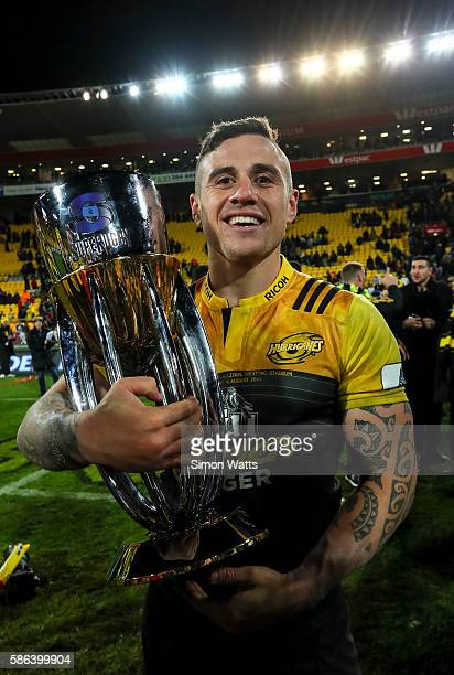 Perenara of the Hurricanes celebrates with the Super Rugby trophy after the Hurricanes won the 2016 Super Rugby Final match between the Hurricanes...