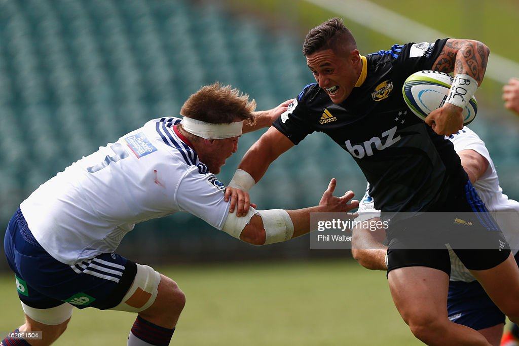 Perenara of the Hurricanes is tackled during the Super Rugby preseason match between the Blues and the Hurricanes at QBE Stadium on February 6 2015...