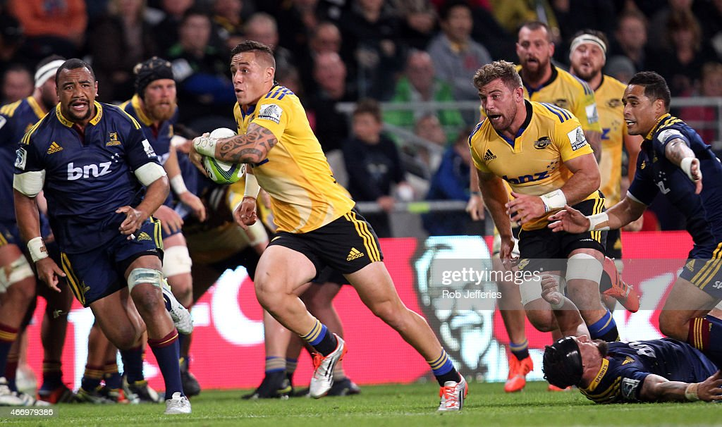 Perenara of the Hurricanes on the attack during the round six Super Rugby match between the Highlanders and the Hurricanes at Forsyth Barr Stadium on...