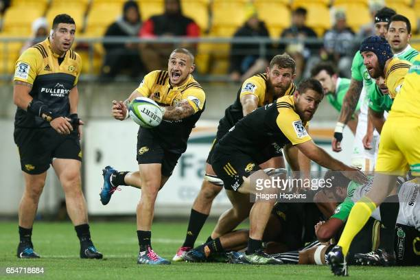 Perenara of the Hurricanes passes during the round four Super Rugby match between the Hurricanes and the Highlanders at Westpac Stadium on March 18...