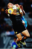 Perenara of the Hurricanes secures the high ball during the round three Super Rugby match between the Blues and the Hurricanes at Eden Park on March...