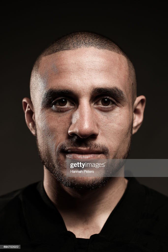 TJ Perenara poses for a portrait during the New Zealand All Blacks Headshots Session on June 11, 2017 in Auckland, New Zealand.