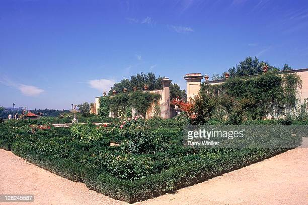 Perennial garden and paths at Boboli Gardens, Florence, Italy