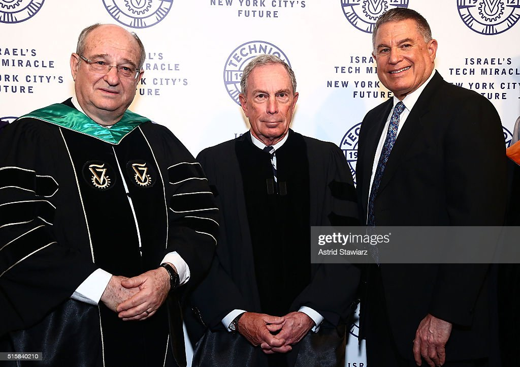Peretz Lavie, Michael Bloomberg and Larry Jackier attend 2016 Technion Benefit Gala at The Plaza Hotel on March 15, 2016 in New York City.