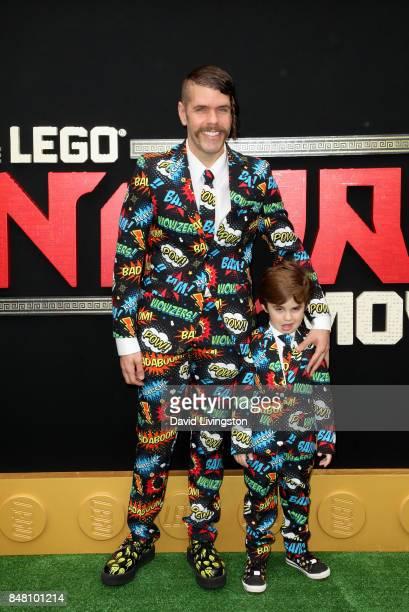 Perez Hilton and Mario Armando Lavandeira III at the premiere of Warner Bros Pictures' 'The LEGO Ninjago Movie' at Regency Village Theatre on...