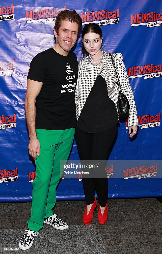 Perez Hilton and Michelle Tractenberg attend 'NEWSical The Musical' Opening Night Reception at XL Nightclub on September 17 2012 in New York City