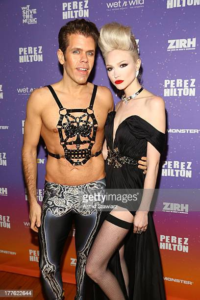 Perez Hilton and singer Ivy Levan attend Perez Hilton's One Night In Brooklyn at Music Hall of Williamsburg on August 24 2013 in New York City