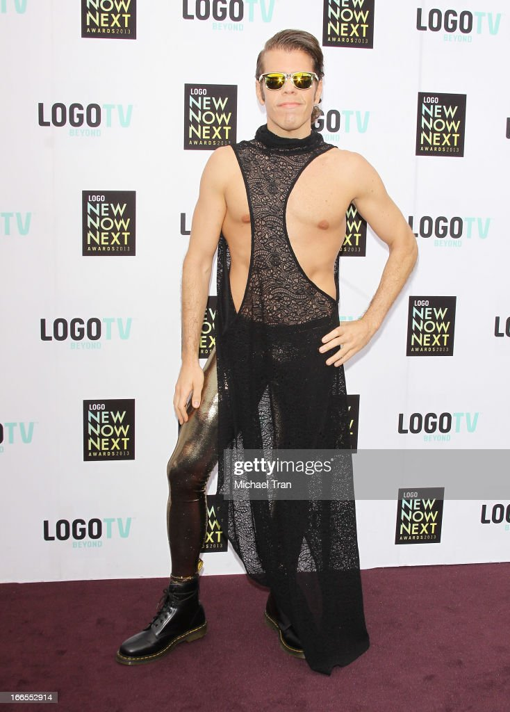 <a gi-track='captionPersonalityLinkClicked' href=/galleries/search?phrase=Perez+Hilton&family=editorial&specificpeople=598309 ng-click='$event.stopPropagation()'>Perez Hilton</a> arrives at the Logo NewNowNext Awards 2013 held at The Fonda Theatre on April 13, 2013 in Los Angeles, California.