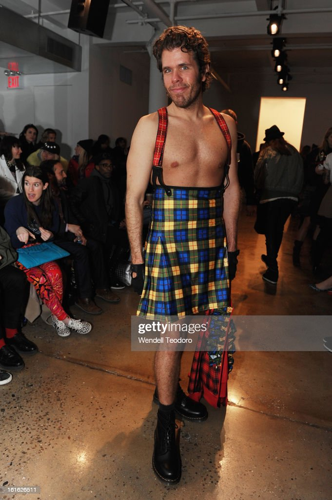 <a gi-track='captionPersonalityLinkClicked' href=/galleries/search?phrase=Perez+Hilton&family=editorial&specificpeople=598309 ng-click='$event.stopPropagation()'>Perez Hilton</a> attends Jeremy Scott during Fall 2013 MADE Fashion Week at Milk Studios on February 13, 2013 in New York City.