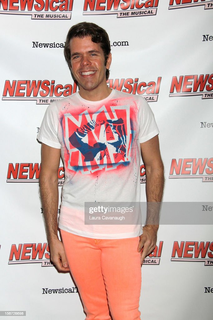 Perez Hilton attends opening night of Andrea McArdle in 'NEWSical The Musical'at The Kirk Theater at Theatre Row on November 19, 2012 in New York City.