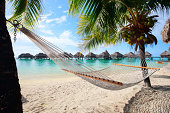 Beautiful beach on Moorea island in French Polynesia