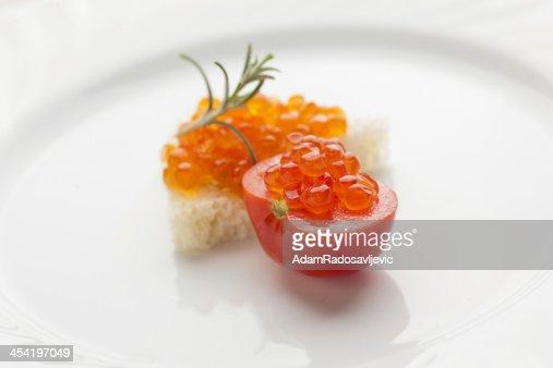 Perfect breakfast - Caviar sandwich with red cherry tomato : Stock Photo