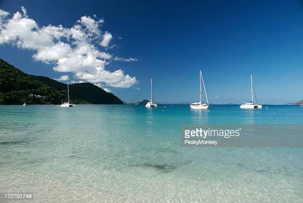 Perfect Caribbean Bay with Sailboats