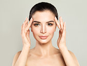 Perfect Model Woman with Healthy Skin. Spa Beauty, Facial Treatment and Cosmetology Concept