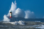 Lighthouse - Storm - Huge waves -Sea defence - Harbour - Storm - English Channel - East Sussex - Newhaven - UK