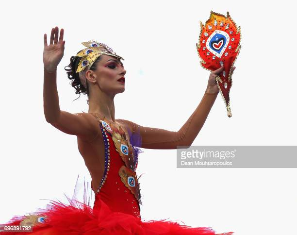A perfomer performs during the opening ceremony prior to the FIFA Confederations Cup Russia 2017 Group A match between Russia and New Zealand at...