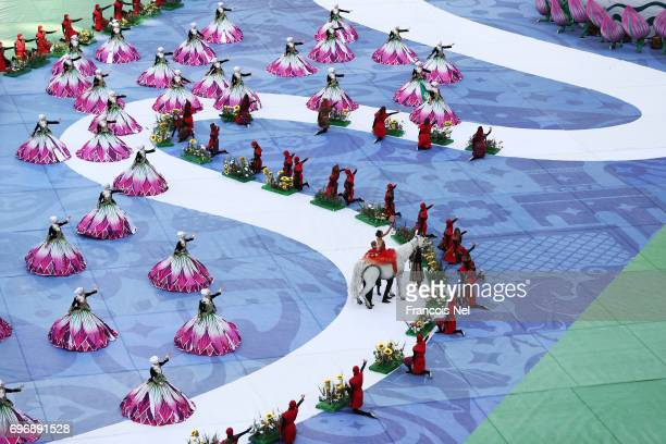 Perfomers perform during the opening ceremony prior to the FIFA Confederations Cup Russia 2017 Group A match between Russia and New Zealand at Saint...