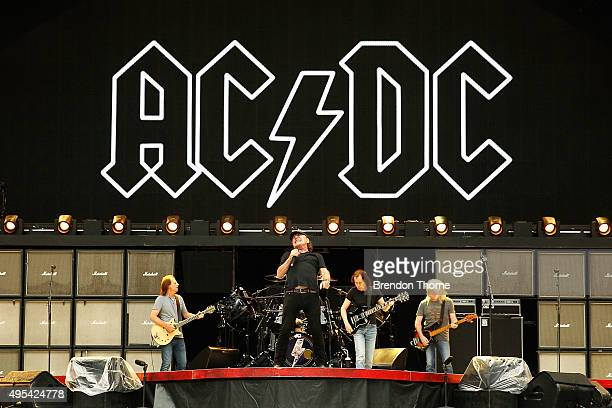 DC perform on stage during a media call ahead of their 'Rock or Bust' world tour at ANZ Stadium on November 3 2015 in Sydney Australia