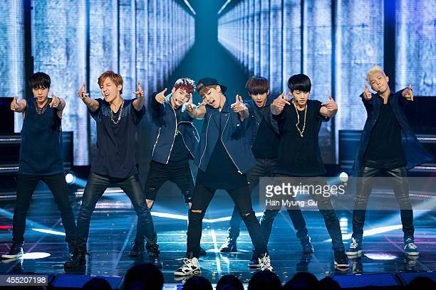 BTS perform on stage during the MBC Music 'Show Champion' on September 10 2014 in Ilsan South Korea