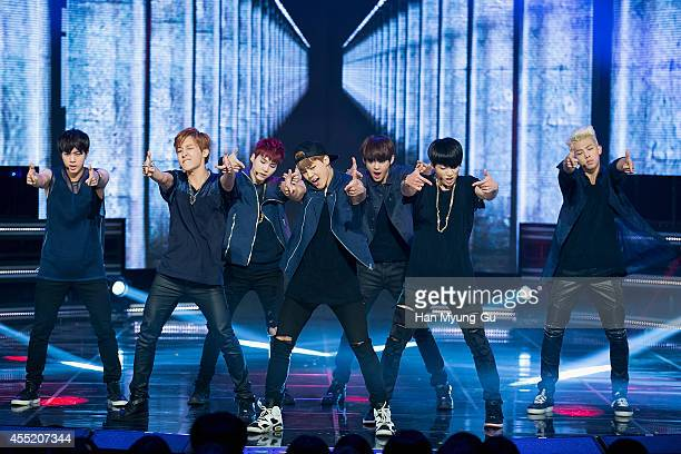 KOREA SEPTEMBER BTS perform on stage during the MBC Music 'Show Champion' on September 10 2014 in Ilsan South Korea