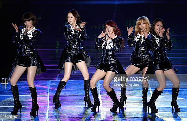 KARA perform on stage during their first solo concert KARASIA at Olympic gymnasium on February 18 2012 in Seoul South Korea