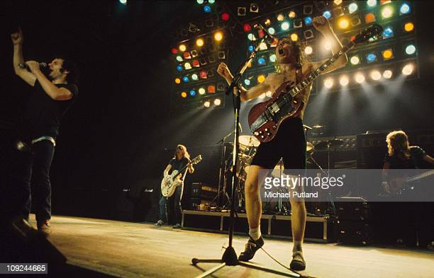 AC/DC perform on stage in London Brian Johnson Angus Young