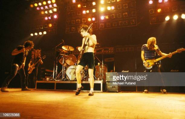 AC/DC perform on stage in London Brian Johnson Malcolm Young Angus Young Cliff Williams