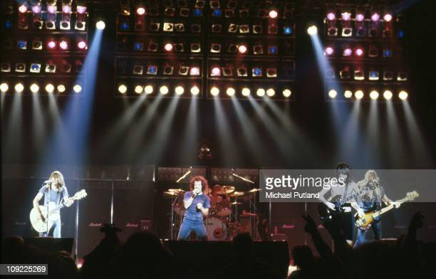 AC/DC perform on stage in London Malcolm Young Brian Johnson Angus Young Cliff Williams
