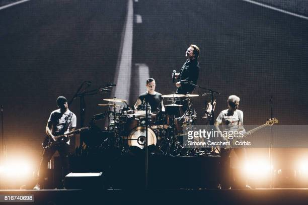 U2 perform on stage on July 15 2017 at Stadio Olimpico in Rome Italy