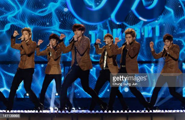 INFINITE perform on the stage during a concert at the KCollection In Seoul on March 11 2012 in Seoul South Korea
