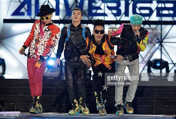 BIGBANG perform on the stage during a concert at the KCollection In Seoul on March 11 2012 in Seoul South Korea