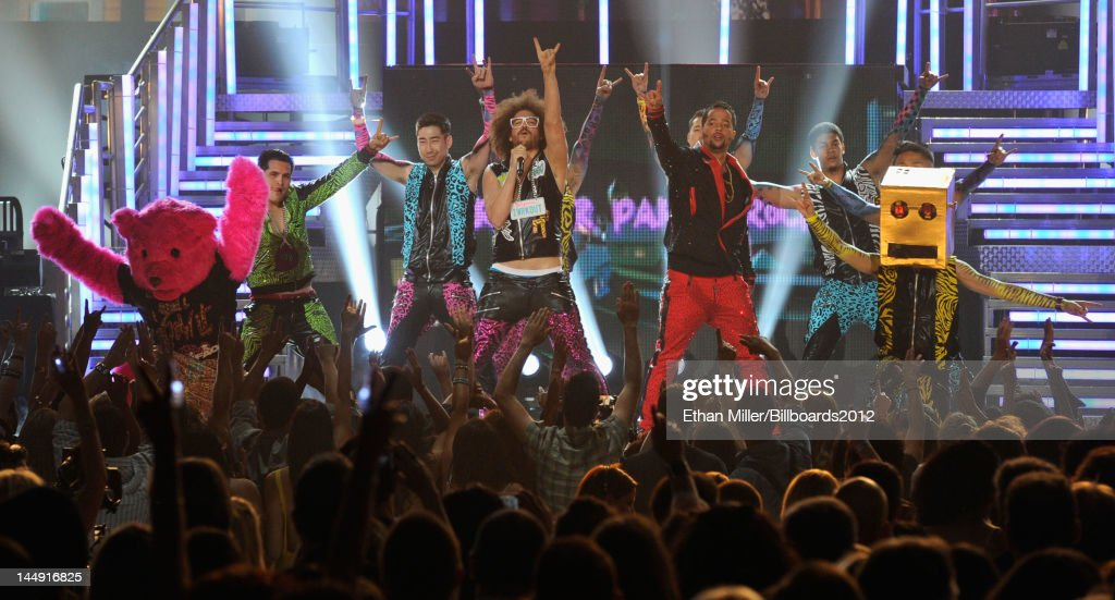 <a gi-track='captionPersonalityLinkClicked' href=/galleries/search?phrase=LMFAO&family=editorial&specificpeople=5419624 ng-click='$event.stopPropagation()'>LMFAO</a> perform onstage at the 2012 Billboard Music Awards held at the MGM Grand Garden Arena on May 20, 2012 in Las Vegas, Nevada.