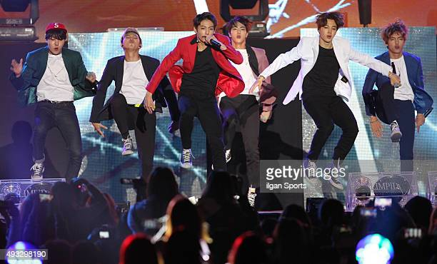 BTS perform onstage during the 2015 Asia Song Festival at Busan Asiad Main Stadium on October 11 2015 in Busan South Korea